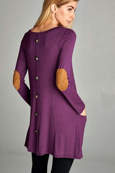 Tunic Top with Suede Elbow Patch & Button Back - 4 colors!