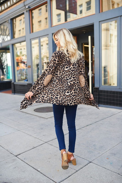 Leopard Cardigan with Suede Elbow Patch
