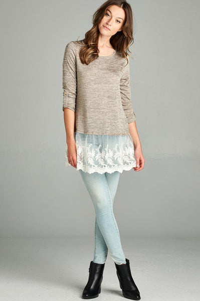 Heathered Top with Lace Hem - 2 colors!