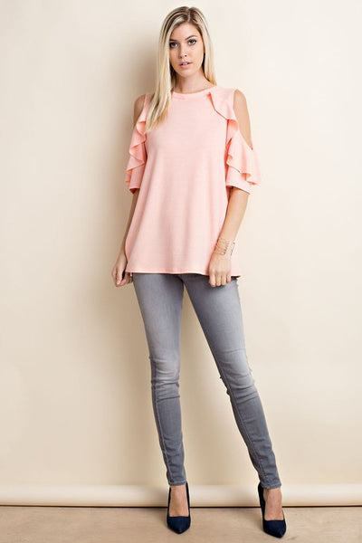 Ruffled Cold Shoulder Raglan Top - 2 colors!