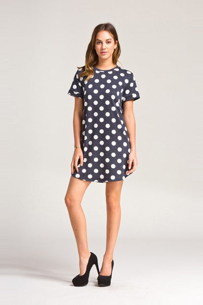 Polka Dot Round Neck Dress