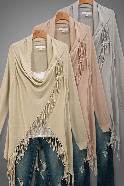 Long Sleeve Fringe Cardigan - 3 colors!