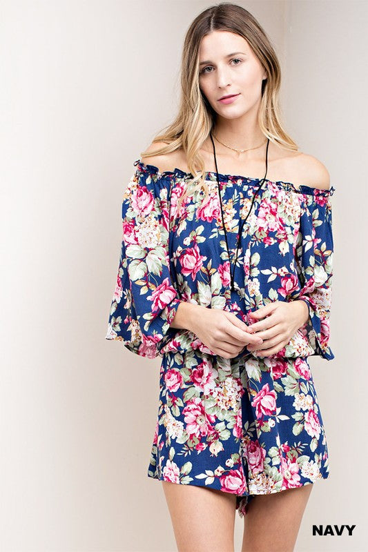 Navy Floral Off Shoulder Romper