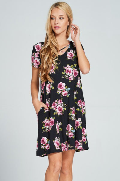 Floral Print Dress w/Criss Cross Neckline - 2 colors!