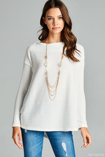 Long Sleeve Ribbed Boatneck Top - 3 colors!