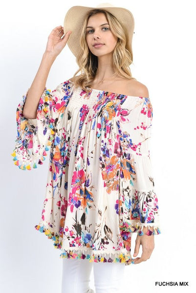Floral Print Off Shoulder Tunic - 2 colors!