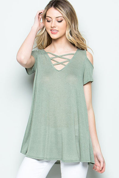 Strappy Detail Cold Shoulder Top - 3 colors!