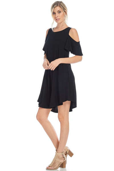 Cold Shoulder Flare Dress - 2 colors!