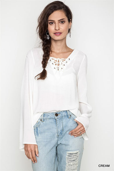 Cream Bell Sleeve Lace Up Top