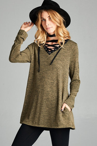 Criss Cross Detail Tunic Top - 2 colors!