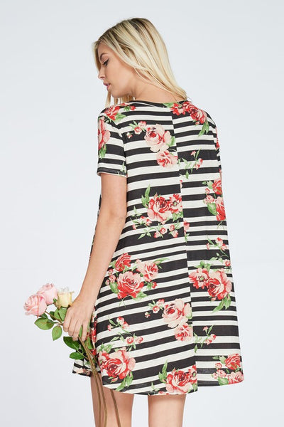 Stripe & Floral Print Dress - 2 colors!