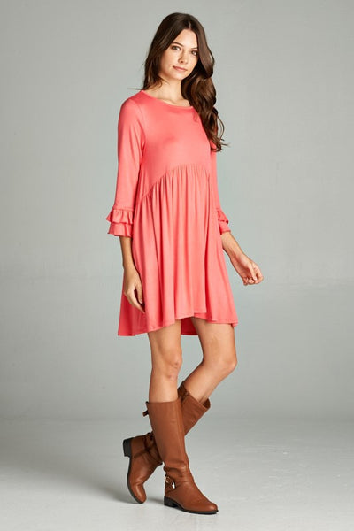 Coral Dress with Ruffle Sleeves (Available in XL)