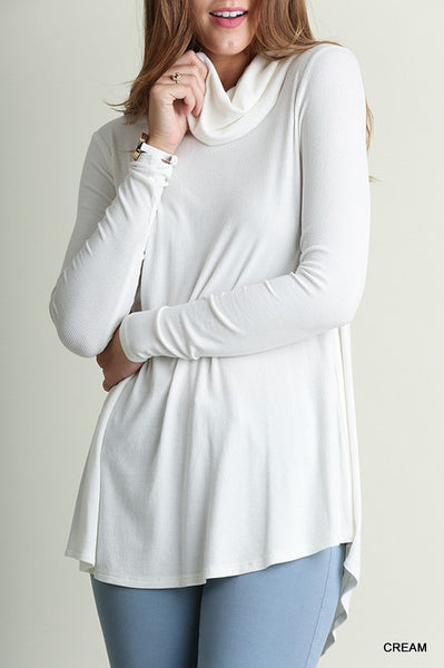 Light Weight Cowl Neck Tunic Top - 3 colors!