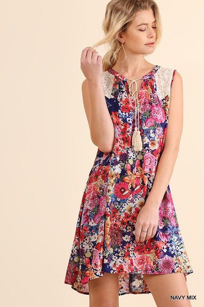 Floral Dress w/Lace Trim
