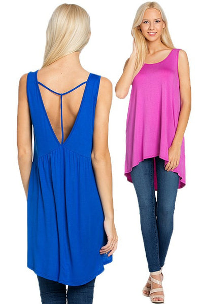 Hi-Low Tunic w/Open Back - 2 colors! (Available in XL)