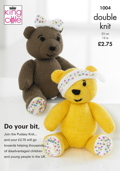 King Cole 1004 - Children in Need Pudsey Bear & Girl Bear in DK Pattern