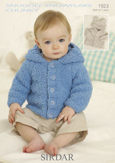 Sirdar 1923 - Baby / Childrens Jackets in  Snuggly Snowflake Chunky Pattern - The Crafty Knitter