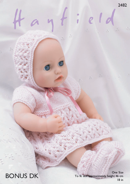 Hayfield 2482 - Dolls Dress, Bonnet, Bootees & Pants in Bonus DK Pattern