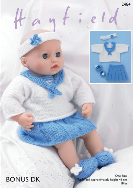 Hayfield 2484 - Dolls Sailor Outfit in Bonus DK Pattern