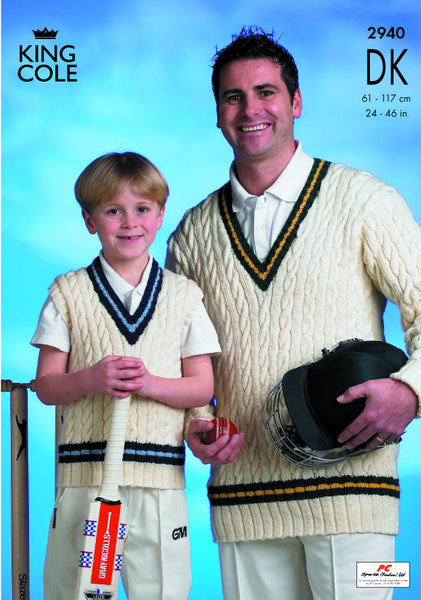 King Cole 2940 - Cricket Sweaters in DK Pattern - The Crafty Knitter Ltd - 1