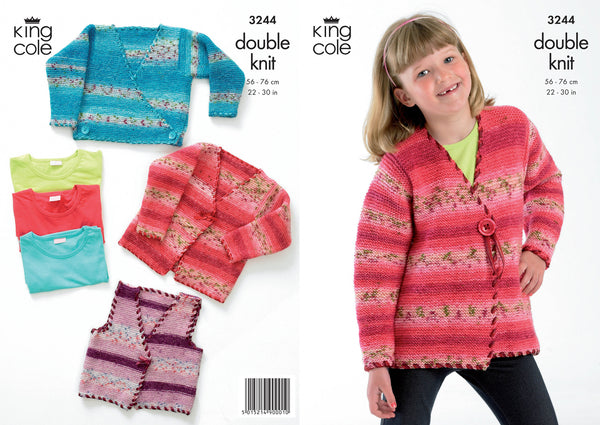 King Cole 3244 - Childrens Cardigans in DK Pattern - The Crafty Knitter Ltd - 1