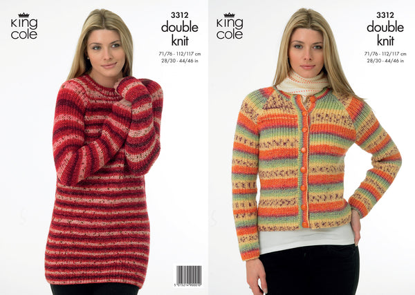 King Cole 3312 - Ladies Sweater & Jacket in DK Pattern - The Crafty Knitter Ltd - 1