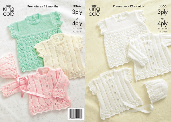 King Cole 3366 - Cardigans, Bonnet & Angel Top in 3 Ply & 4 Ply Patterns