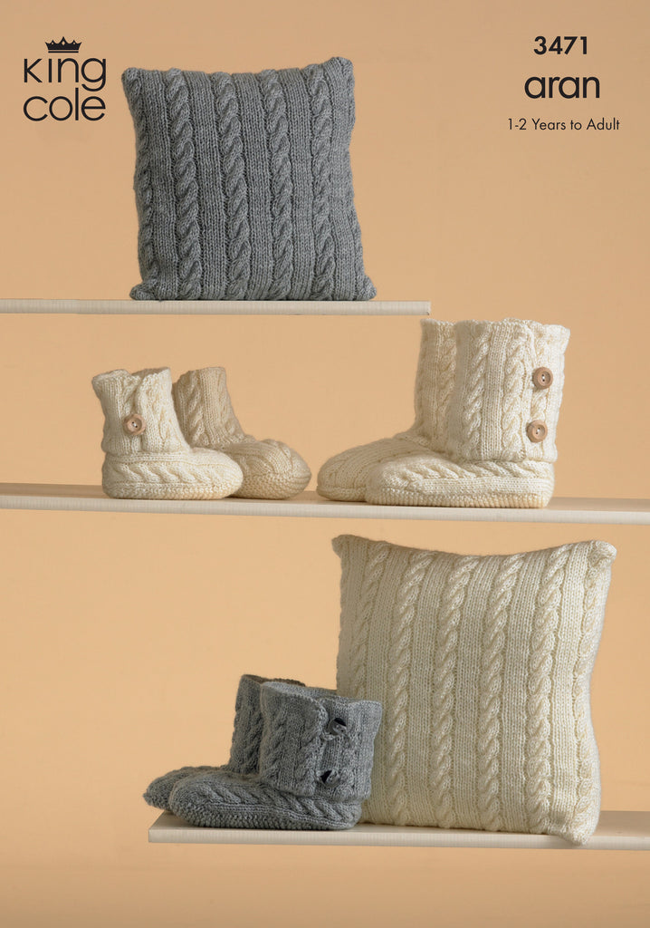 King Cole 3471 - Aran Slippers &  Cushions Knitting Pattern - The Crafty Knitter Ltd - 1