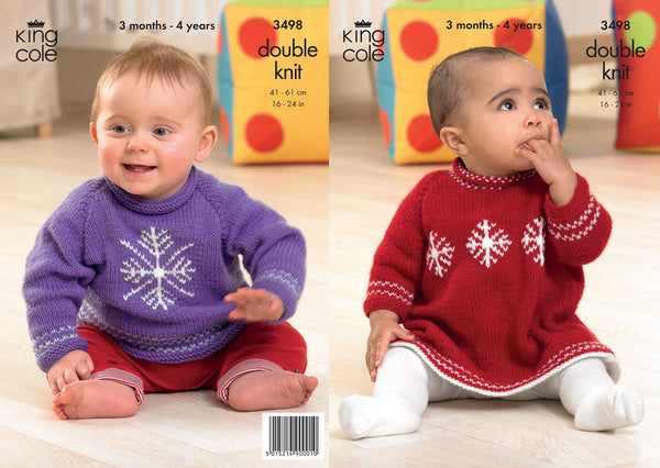 King Cole 3498 - Babies Christmas Sweater & Dress in DK Pattern