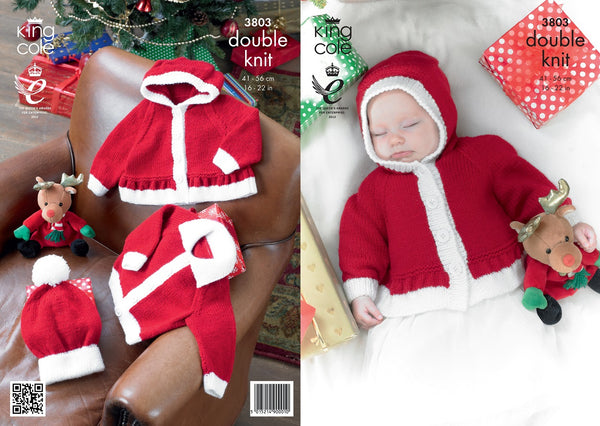 King Cole 3803 - Babies Christmas Jackets & Hats in DK Pattern