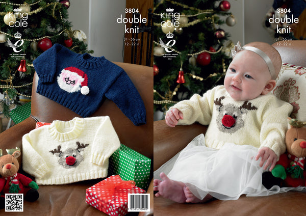 King Cole 3804 - Babies Christmas Jumpers in DK Pattern - The Crafty Knitter Ltd - 1