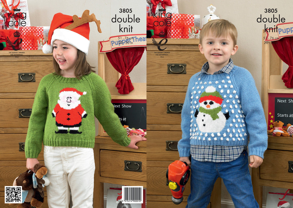 King Cole 3805 - Childrens Christmas Jumpers in DK Pattern - The Crafty Knitter Ltd - 1