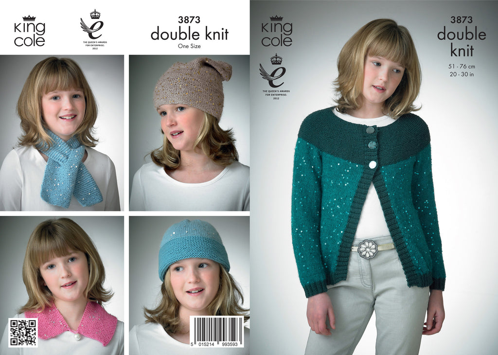 King Cole 3873 - Childrens Jacket, Hat & Scarf in DK Pattern - The Crafty Knitter Ltd - 1