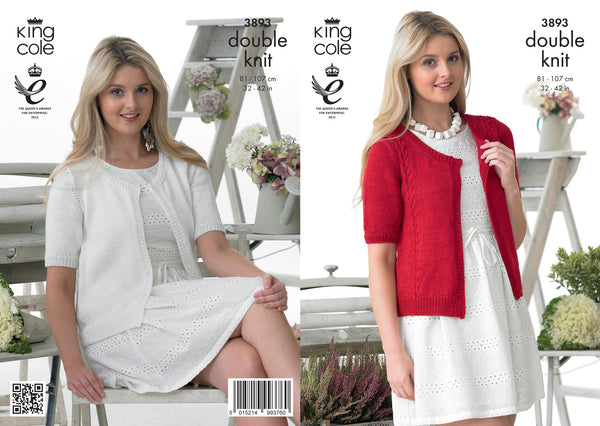King Cole 3893 - Ladies Cardigan in DK Pattern - The Crafty Knitter Ltd - 1