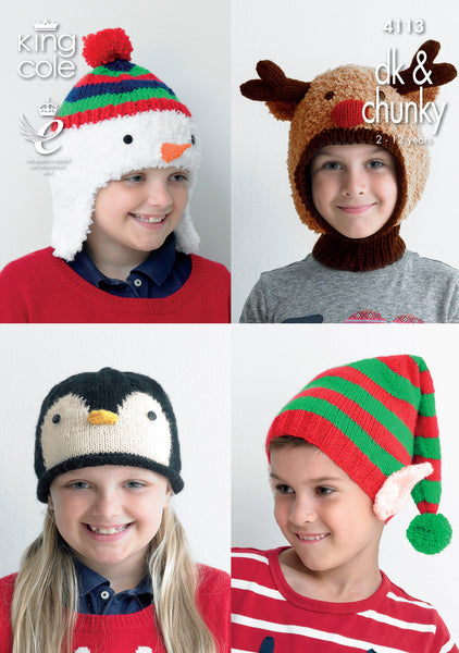 King Cole 4113 - Childrens Novelty Hats in DK & Chunky Knitting Pattern - The Crafty Knitter Ltd
