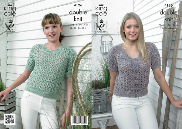 King Cole 4126 - Ladies & Girls Top & Short Sleeved Cardigan in DK Pattern - The Crafty Knitter Ltd - 1