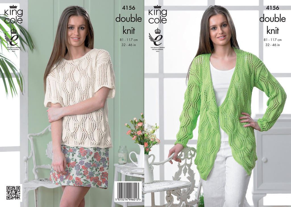 King Cole 4126 - Ladies Cardigan & Jumper in DK Pattern - The Crafty Knitter Ltd