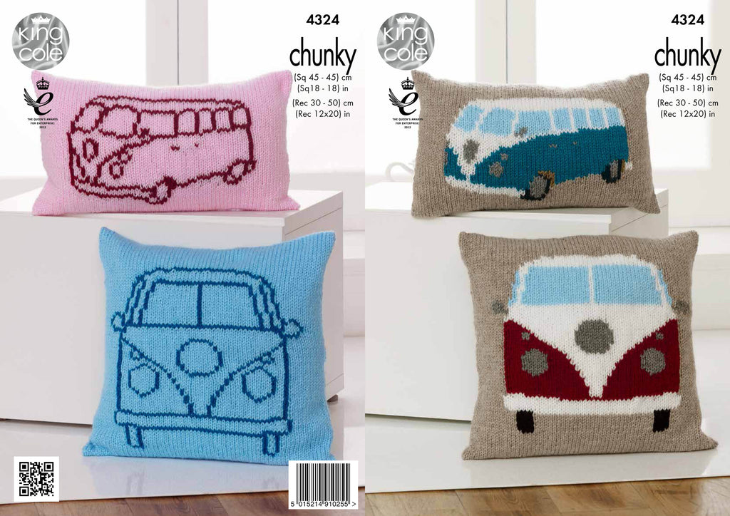 King Cole 4324 - Campervan Cushions in Chunky Knitting Pattern - The Crafty Knitter Ltd - 1