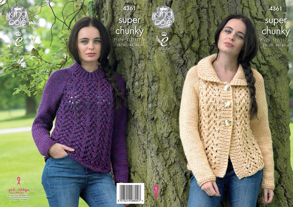 King Cole 4361 - Cardigan & Sweater in Super Chunky Knitting Pattern