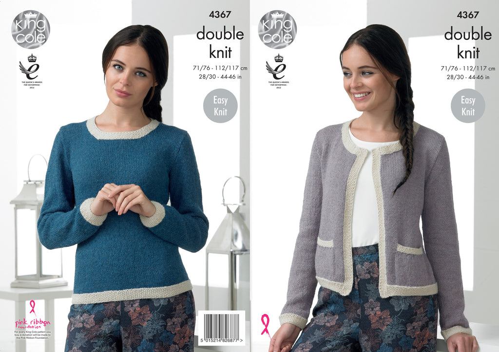 King Cole 4367 - Ladies Jumper & Cardigan in DK Pattern - The Crafty Knitter Ltd - 1