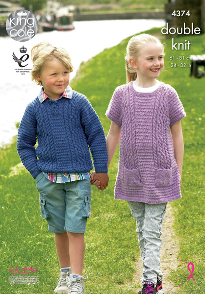 King Cole 4374 - Childrens Jumper & Tunic in DK Pattern - The Crafty Knitter Ltd