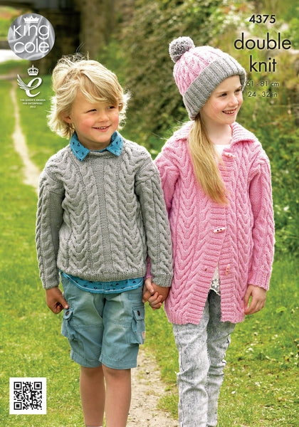 King Cole 4375 - Childrens Jumper, Cardigan & Hat in DK Pattern - The Crafty Knitter Ltd - 1