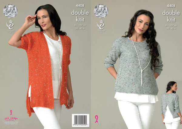King Cole 4408 - Ladies Cardigan & Top in Galaxy DK Pattern