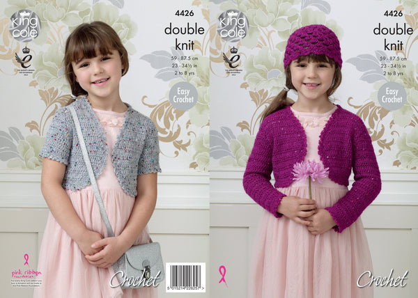 King Cole 4426 - Girls Crochet Bolero & Hat in DK Pattern - The Crafty Knitter Ltd - 1