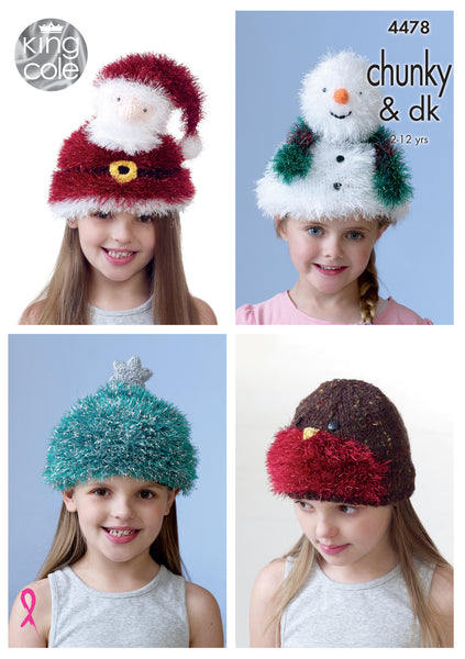 King Cole 4478 - Children's Novelty Christmas Hats in Tinsel Chunky & DK Yarn Pattern