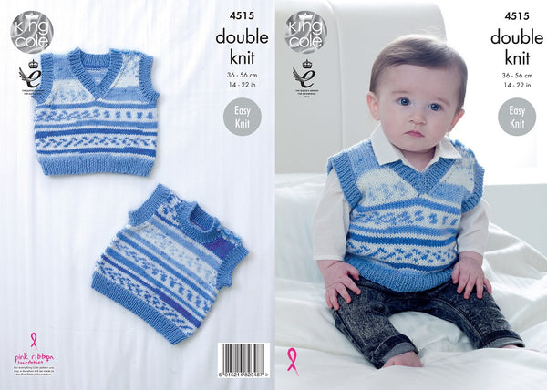 King Cole 4515 - Babies Tanktop / Slipover in DK Yarn Pattern