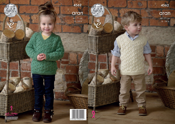 King Cole 4562 - Children's Sweater & Pullover in Aran Knitting Pattern - The Crafty Knitter Ltd - 1