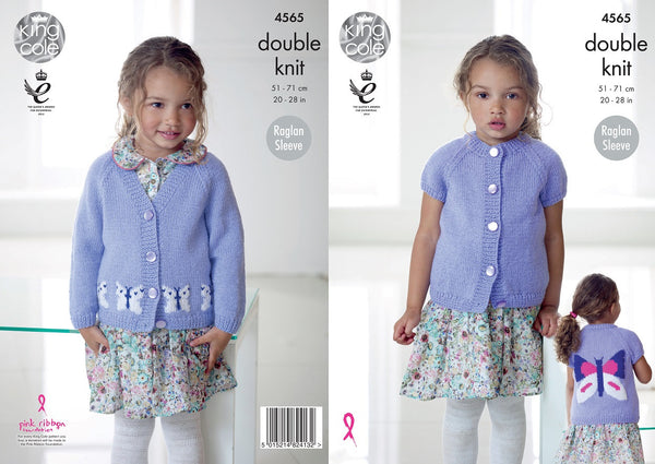 King Cole 4565 - Girls Cardigans with Butterfly Motifs in DK Yarn Pattern