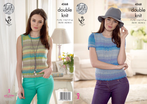 King Cole 4568 - Ladies Slipover & Top in Sprite DK Pattern - The Crafty Knitter Ltd - 1