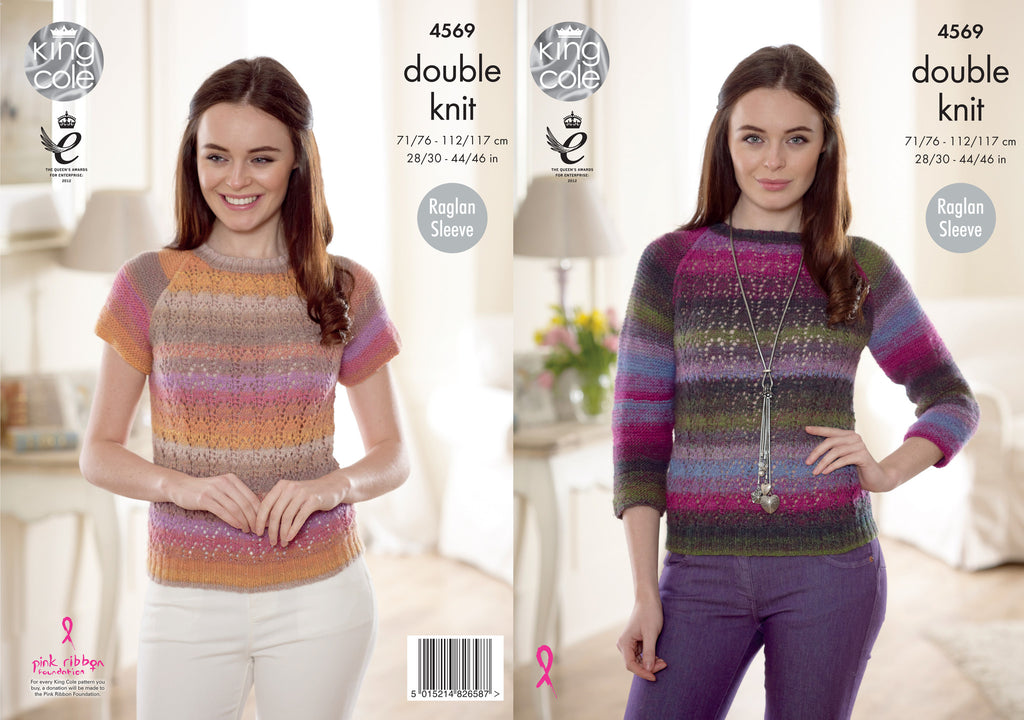King Cole 4569 - Ladies Sweater in Sprite DK Pattern - The Crafty Knitter Ltd - 1
